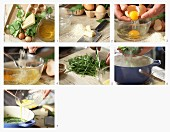 How to make poultry soup with egg, spinach and parmesan