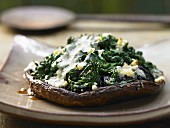 Portobello mushrooms stuffed with spinach, Marsala and blue cheese