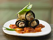 Eggplant cannelloni with goat's cheese