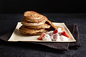 Banana pancakes with strawberry quark