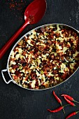 Spicy Tex-Mex bake with chorizo, black beans and quinoa