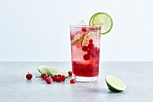 Cranberry and lime spritzer with lemonade
