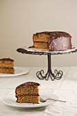 Layer cake with chocolate glaze