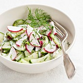 Spring salad with radishes and cucumbers