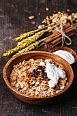 Muesli granola with raisin and yogourt in wooden bowl