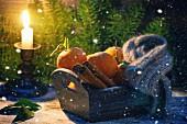 Mandarinen, Zimt und Schal in Holzkiste, dahinter brennende Kerze, Schnee und Weihnachtsbaum