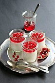 Three jars with Panna Cotta on a serving tray decorated with pomegranate jelly and pomegranate seeds