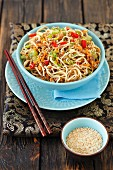 Noodle with ground beef, sesame and chili