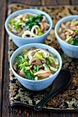 Chicken and spinach soup with udon