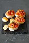 Vol au vents with cryfish and braised vegetables