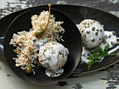 Königsberger Klopse (meatballs in white sauce with capers), rice