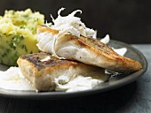 Fried zander fillet with horseradish sauce