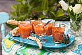 Gazpacho, cold tomato soup with cheese sticks