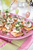 Easter hors d oeuvres. Pickled herring, sour cream, red onion and chive