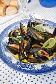 Casserole with mussels, lime, saffron and fresh herbs