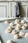 Coconut macaroons on a baking sheet