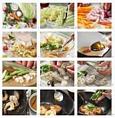 Garnelen in süss-scharfer Glasur mit Chinakohlsalat zubereiten