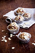 Date nut balls with almond flakes
