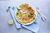 Heart waffles with lime and coriander