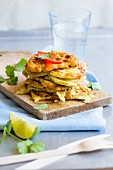 Savoury waffles with avocado and coriander