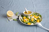 Mango and avocado salad with dressing