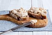 Nut cream spread on wholegrain bread