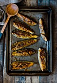 Baked miso and mirin aubergines on a baking tray