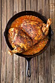 Turkey in a iron skillet With a spicy sos