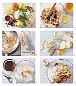 Haferflocken mit Obst, Nüssen und Frischkäse zubereiten