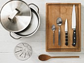 Kitchen utensils for making porridge with fruit