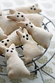 Easter bunny biscuits on cooling rack