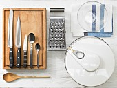 Kitchen utensils for making a wholegrain salmon sandwich