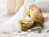 A quark and egg baguette with a Frankfurt herb mixture