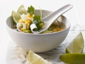 Spicy corn soup with chilli, ginger and lime