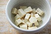 Diced tofu in a dish