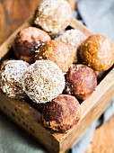 Mix of homemade energy protein balls