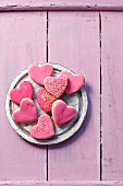 Heart shape cookies with marzipan and icing
