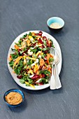 Kale, carrot, pepper salad with peanut butter
