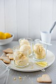 Lemon ice cream with biscuits