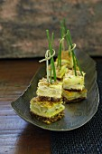 Tortilla cubes with chives