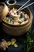 Chicken and Pork Dumplings with chilli, ginger and herbs