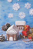 Gingerbread house and mini christmas gifts
