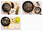How to make green asparagus with lemon, fried eggplant and black olives