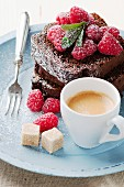 Chocolate cake with summer berries and coffee
