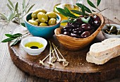 Fresh olives and olive oil platter