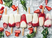 Strawberry yogurt ice cream popsicles with mint over steel tray background