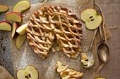 Apfelkuchen mit Teiggitter (Aufsicht)