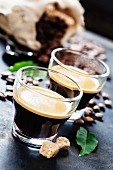 Cups of Espresso on dark rustic background