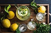 Selbstgemachte Zitronenlimonade mit Minze und Eis auf Holztablett