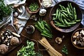 The ingredients for Creamy Mushroom Pasta with Fresh Peas and Ricotta